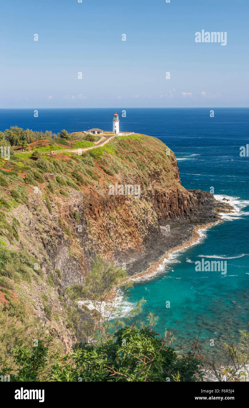 Kilauea Lighthouse on coastline, Hawaii, United States - Stock Image