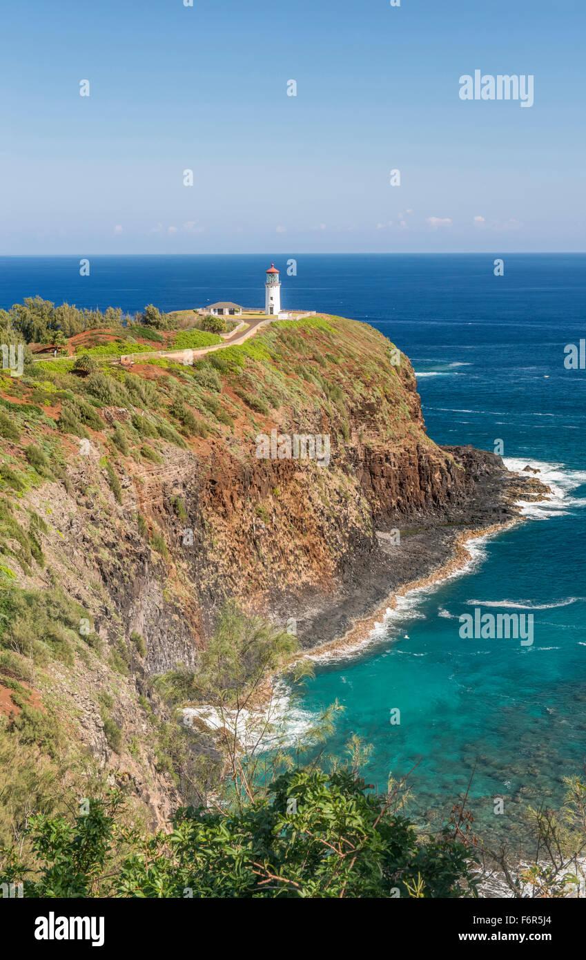 Kilauea Lighthouse on coastline, Hawaii, United States - Stock Image