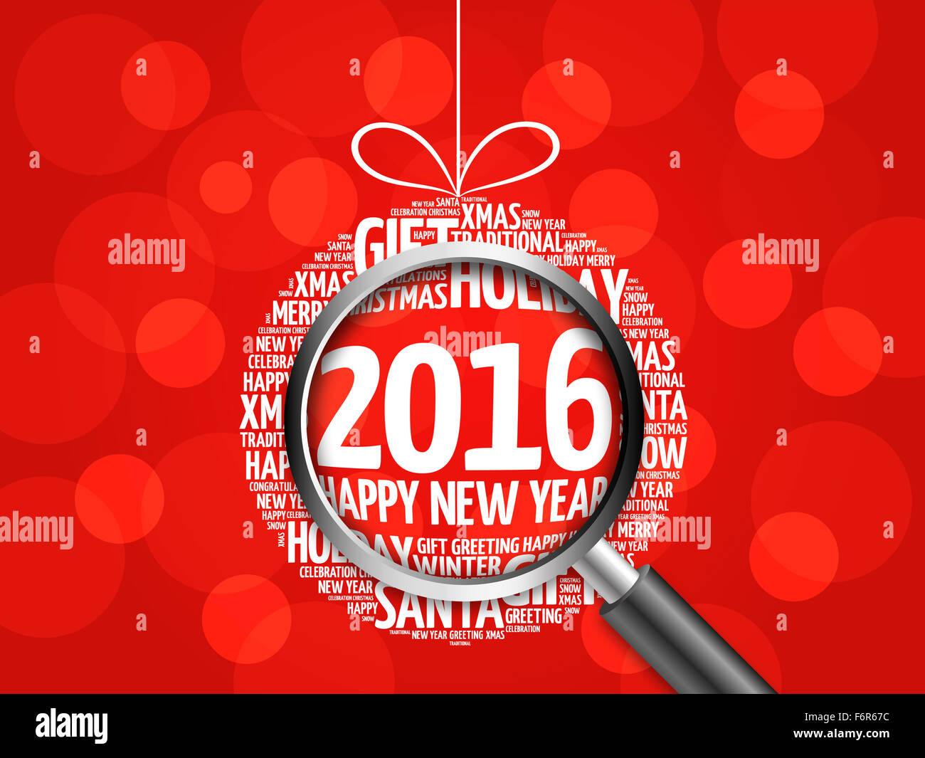 2016 happy new year christmas ball word cloud holidays lettering with magnifying glass
