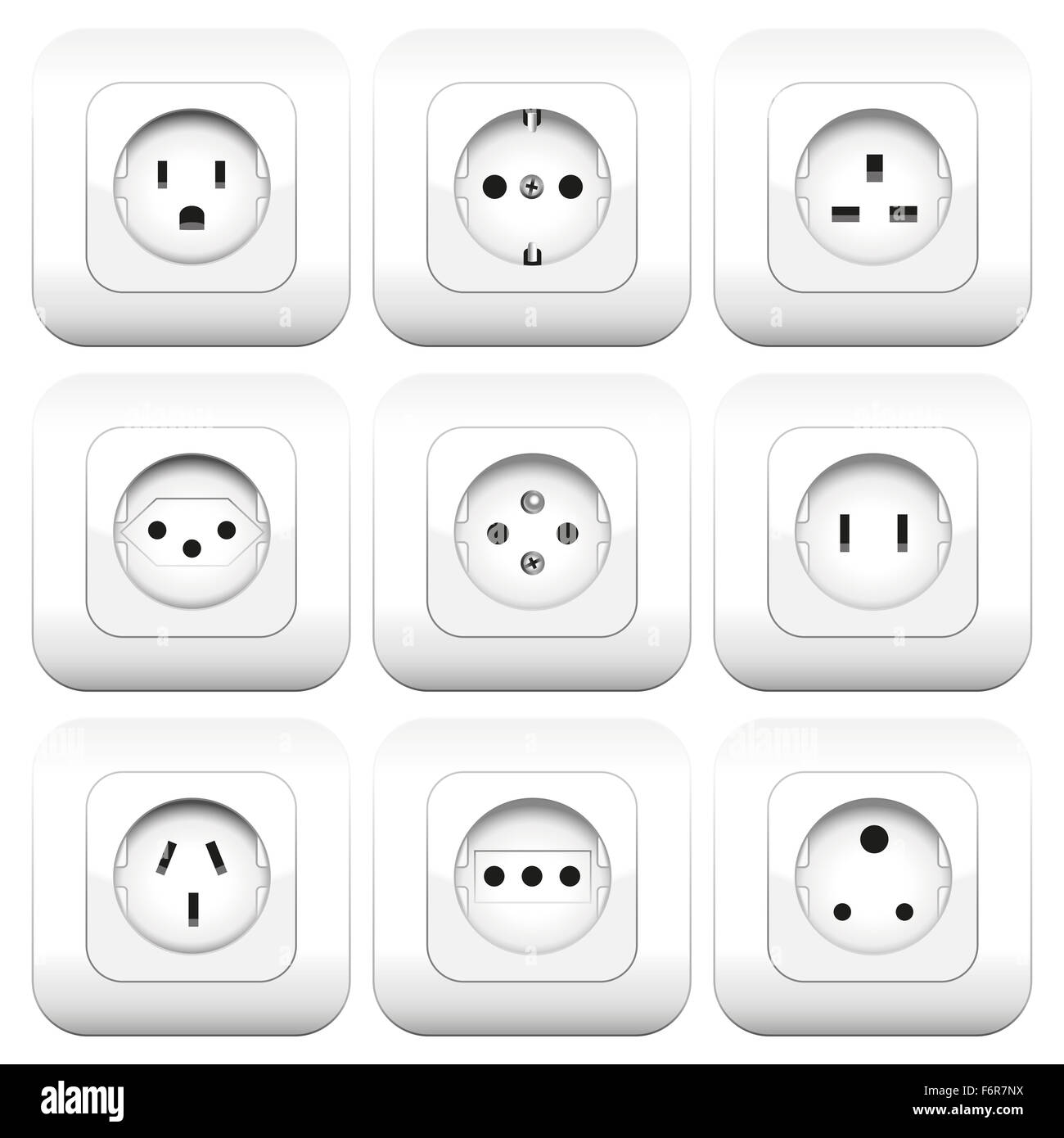Sockets - different types - worldwide varieties. Illustration over white background. - Stock Image