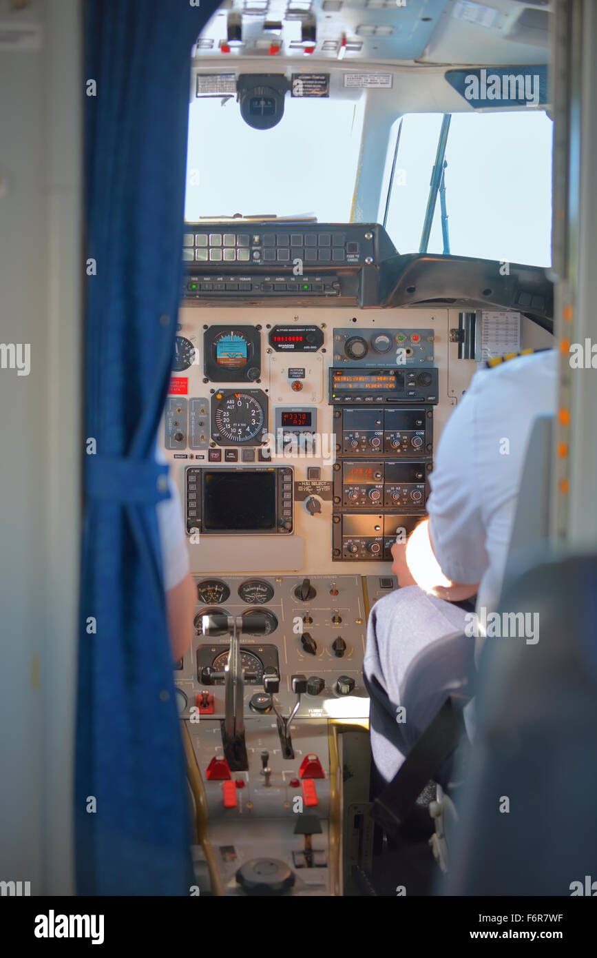 Pilots in the plane cockpit - Stock Image