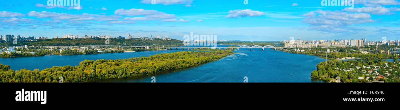 Wide panoramic view of Kiev - capital of Ukraine. - Stock Image