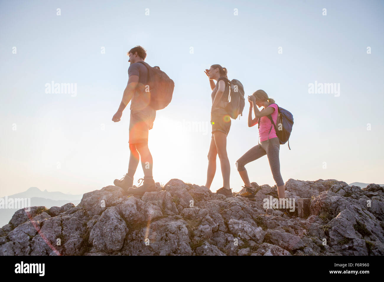 Group of friends overlooking mountain landscape - Stock Image