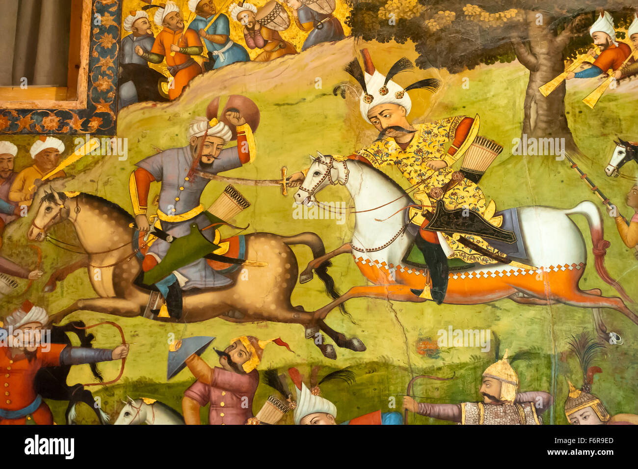 Fresco, Shah Ismail on a white horse at the battle of Taher Abad, 1510, against the Uzbeks in Merv, Chehel Sotoun Stock Photo