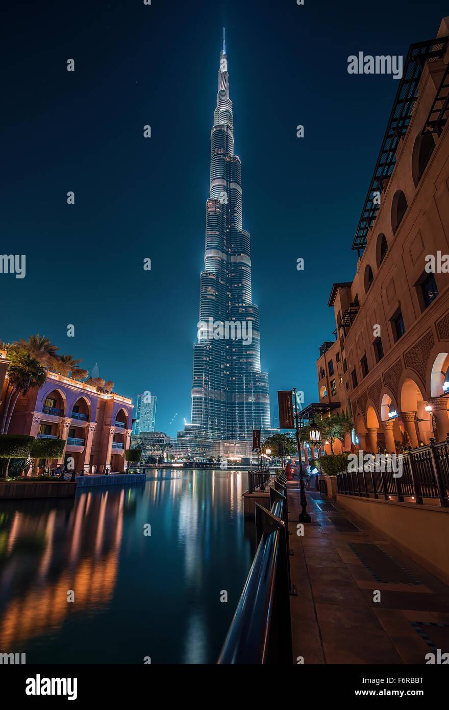 Burj Khalifa from Souk Al Bahar - Stock Image