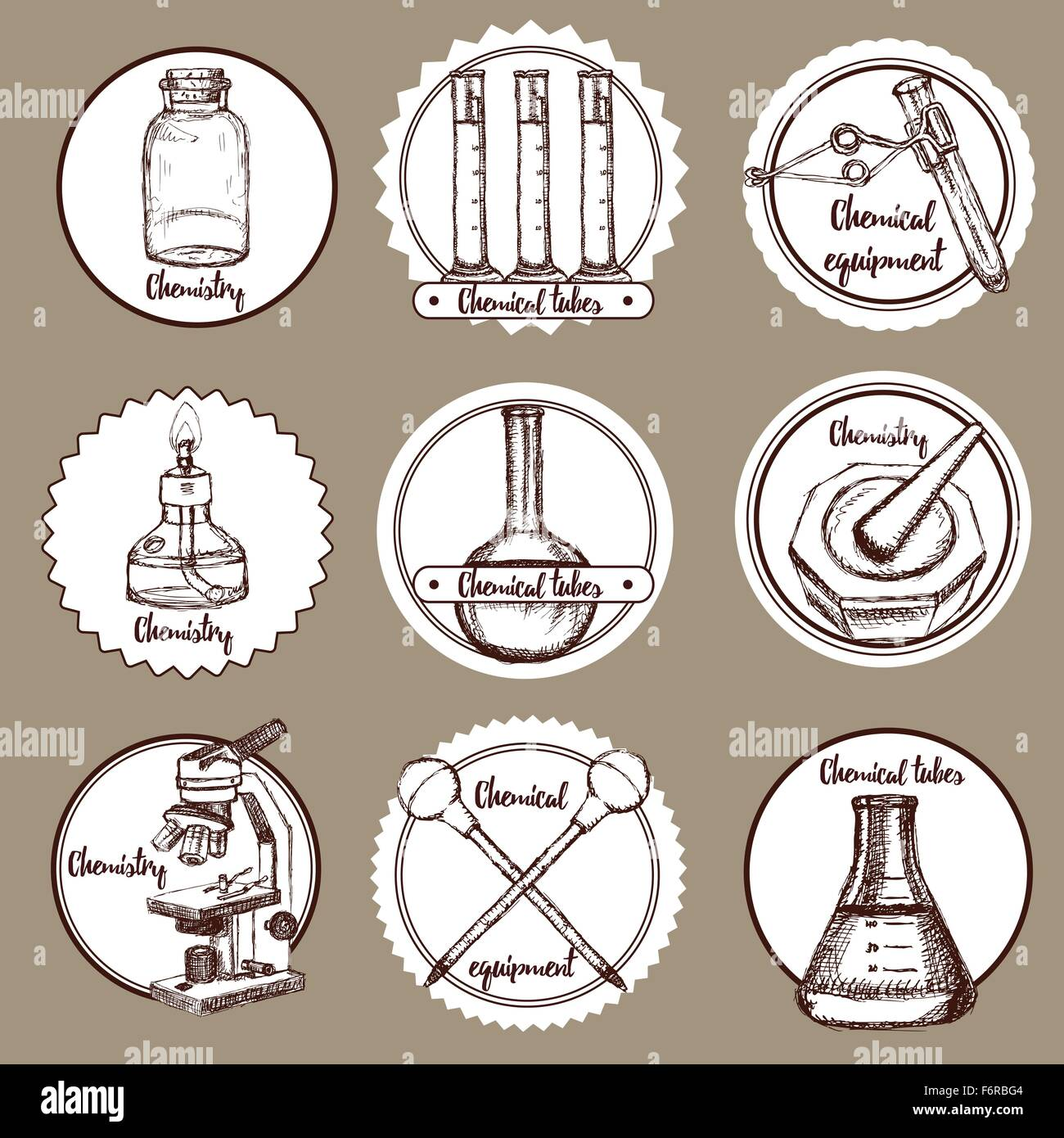 Sketch chemical logotypes in vintage style, vector - Stock Image