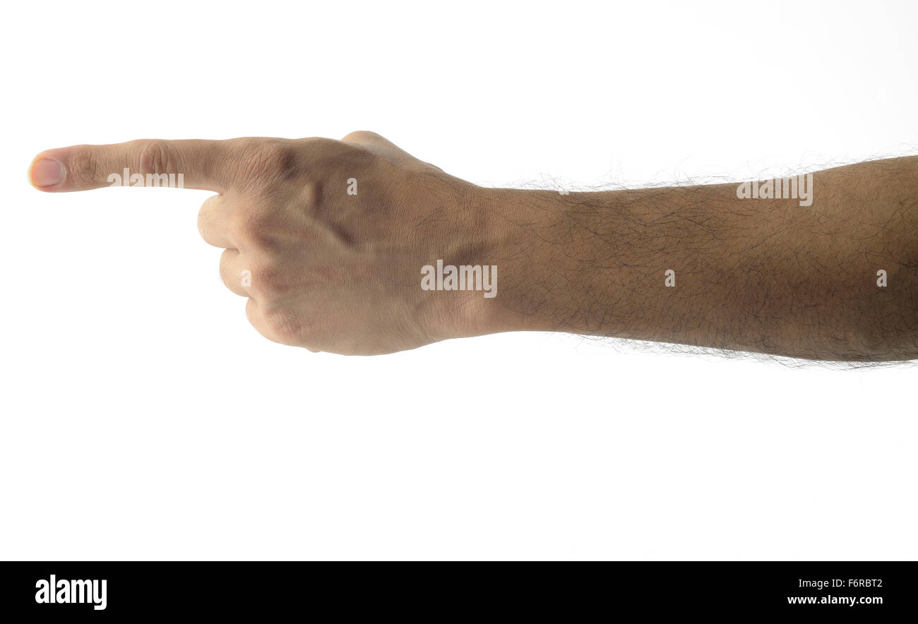 Finger Pointing - Male Hand - Stock Image