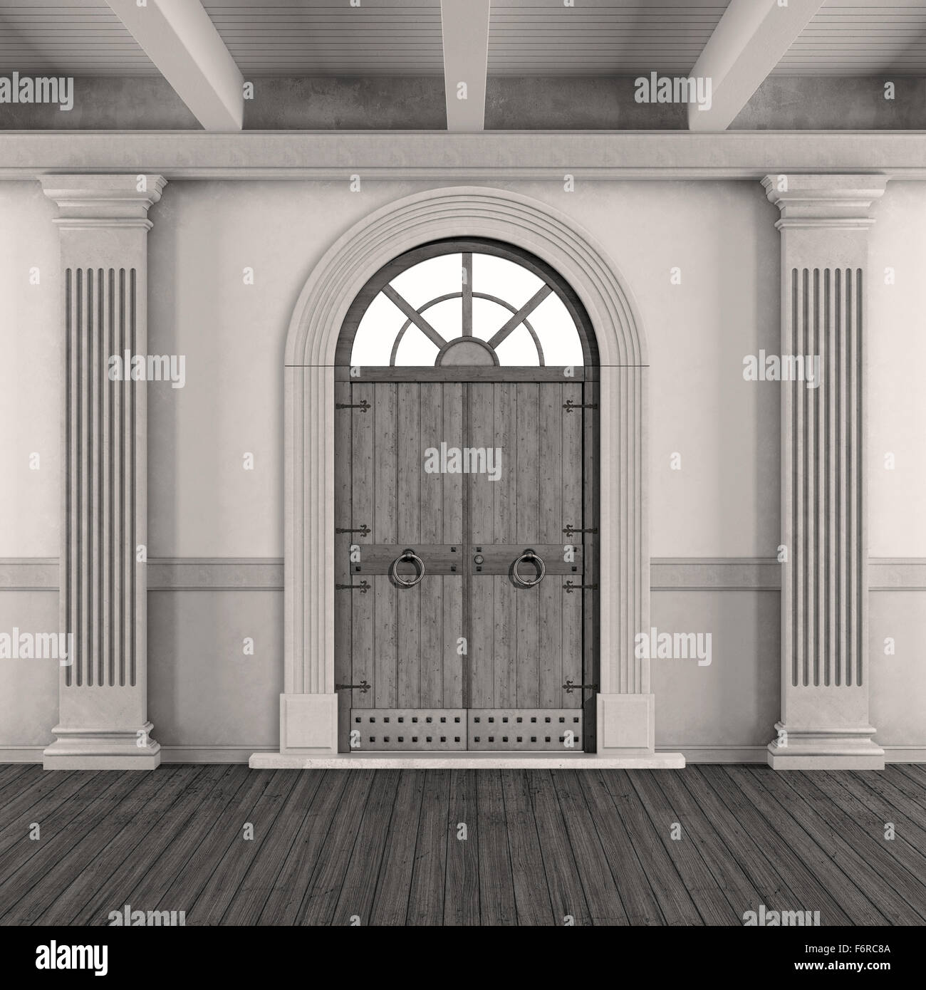 Black and white classic home entrance with old doorway and pilaster -3D Rendering - Stock Image