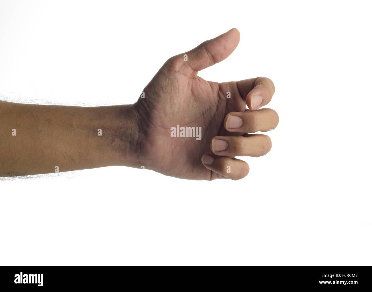 Human Hand holding virtual mobile phone - Stock Image