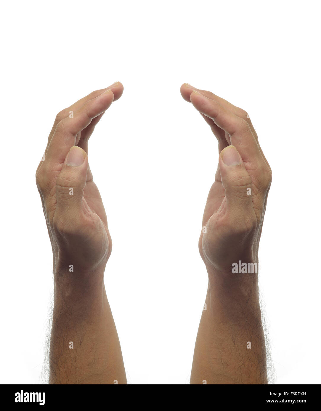 Human hands -protecting gesture on white background - Stock Image