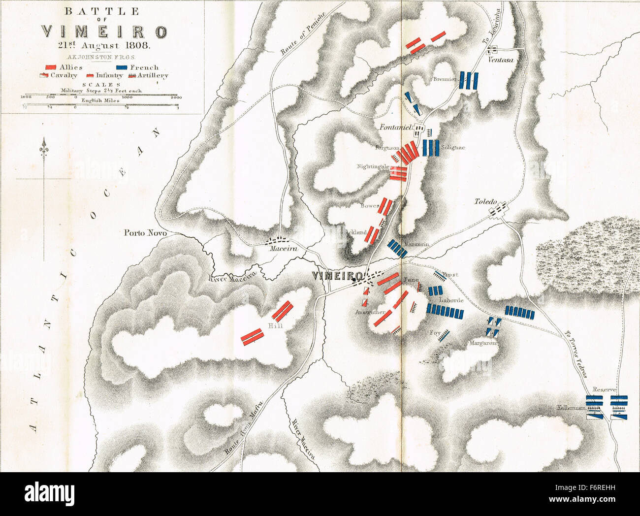 Map of the Battle of Vimeiro in 1808 - Stock Image