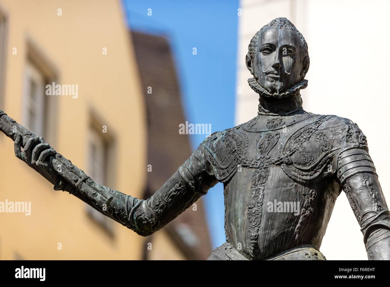 Don Juan de Austria, Statue, illegitimate son of Emperor Charles V, who was born in Regensburg in 1547, Zieroldsplatz, - Stock Image