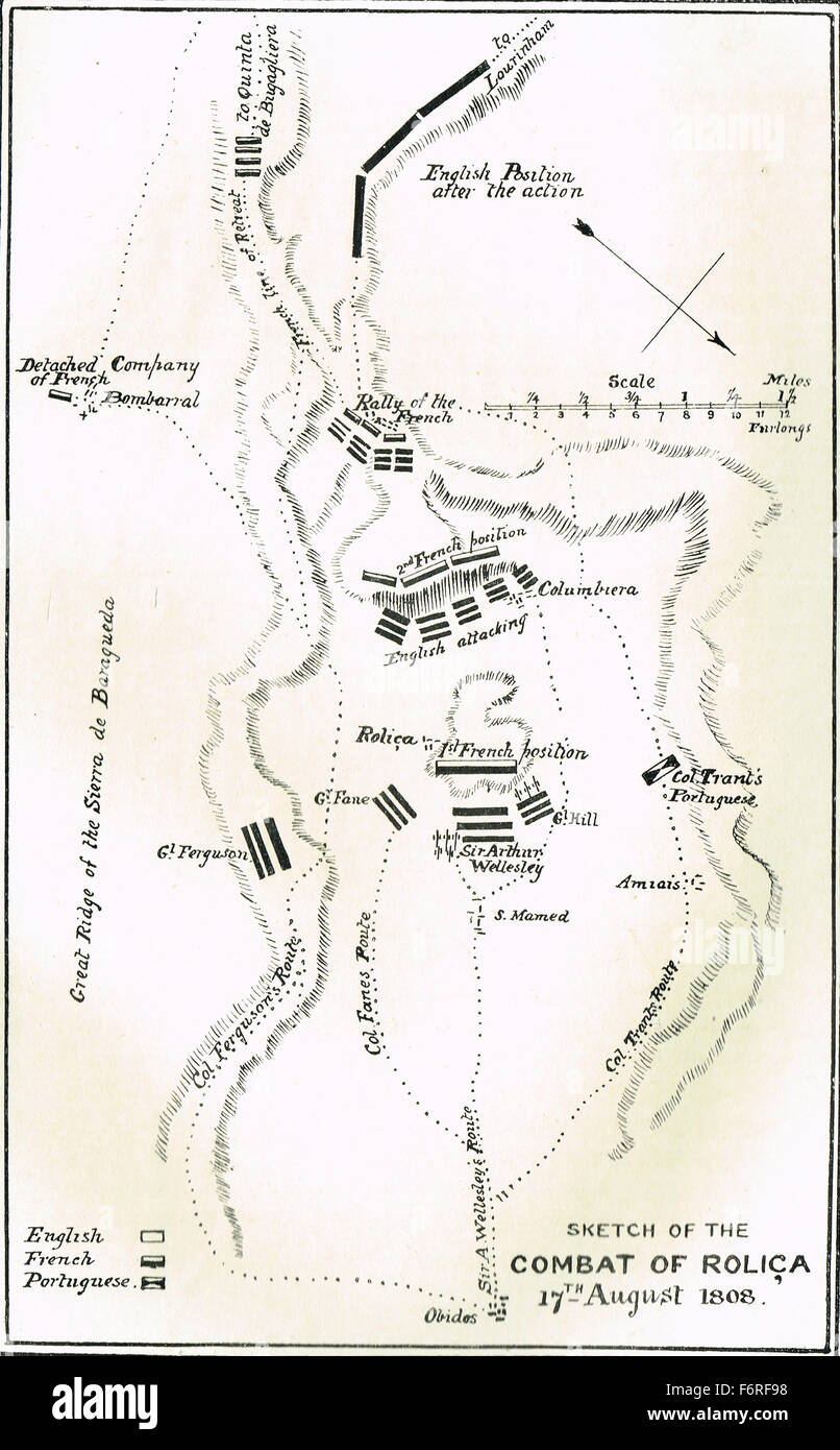 Sketch map Battle of Rolica 1808 - Stock Image