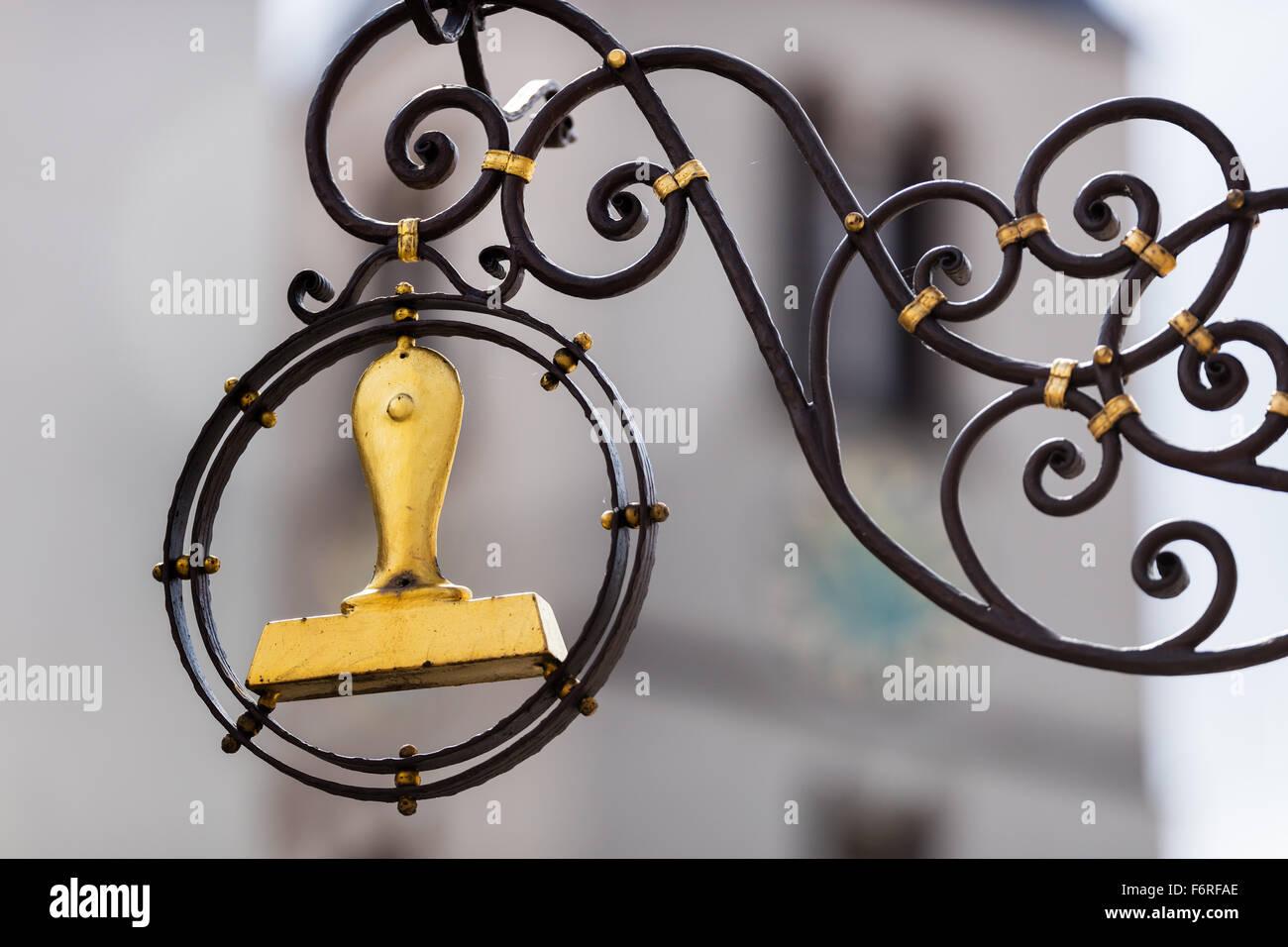 STAMPS, stamp, punchtech seal chop, pistilbot, postmark stamper golden, gold, figurehead, stamp makers, traditional, - Stock Image
