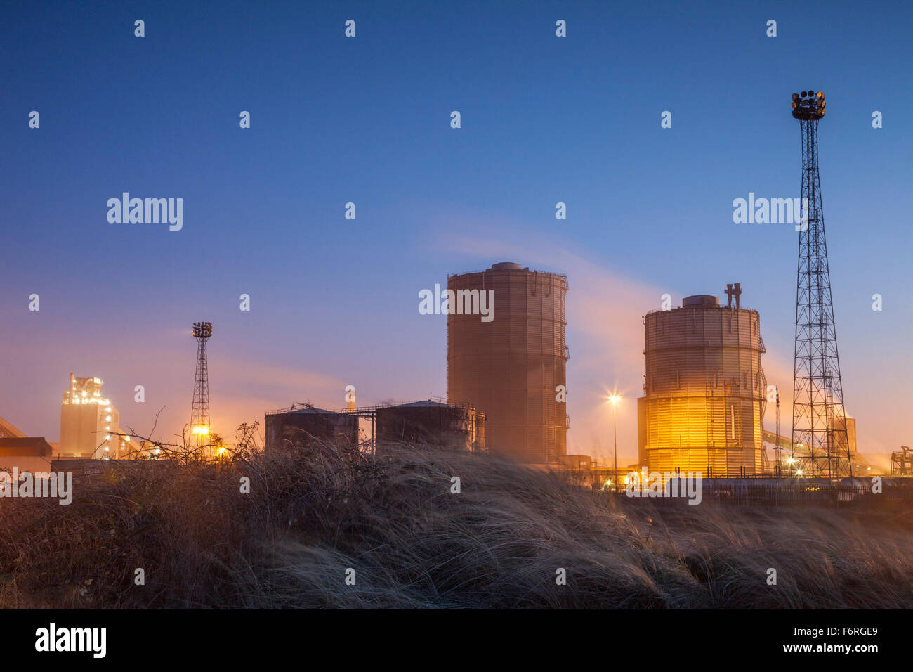 Evening at Redcar steelworks, early 2015. - Stock Image