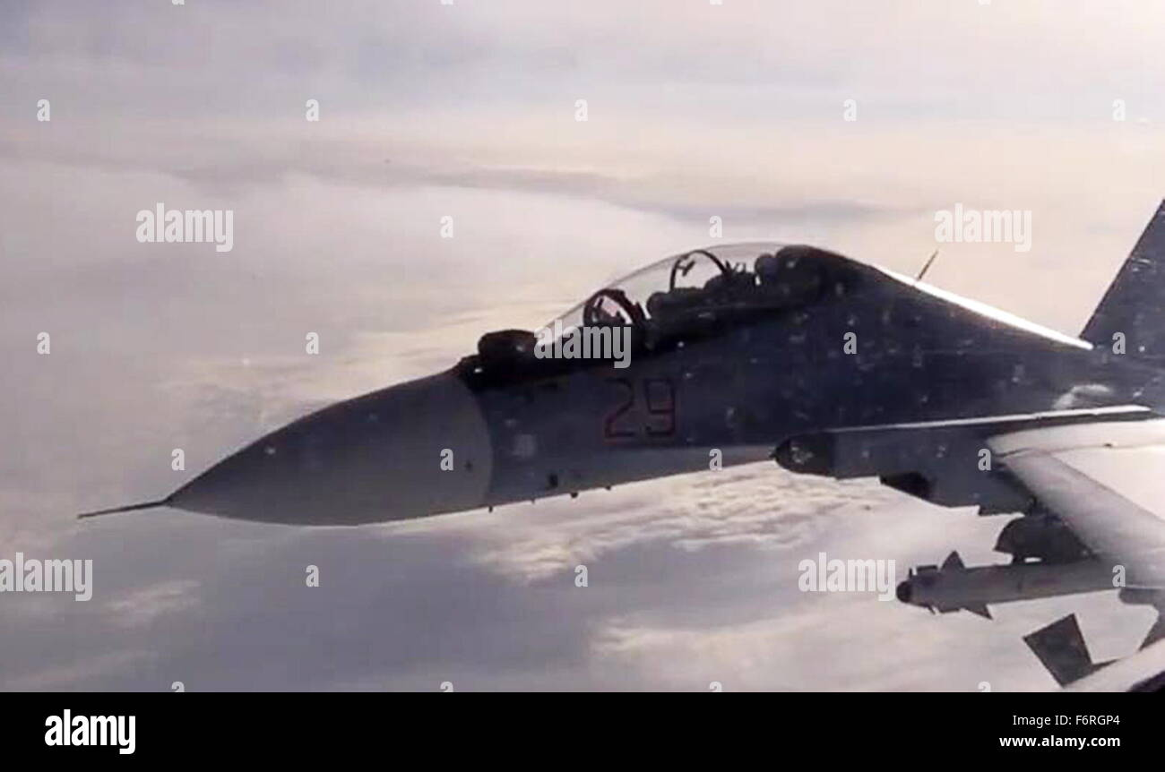 Syria. 19th November, 2015. A Sukhoi SU-30SM fighter aircraft of the Russian Air Force's long-range aviation - Stock Image