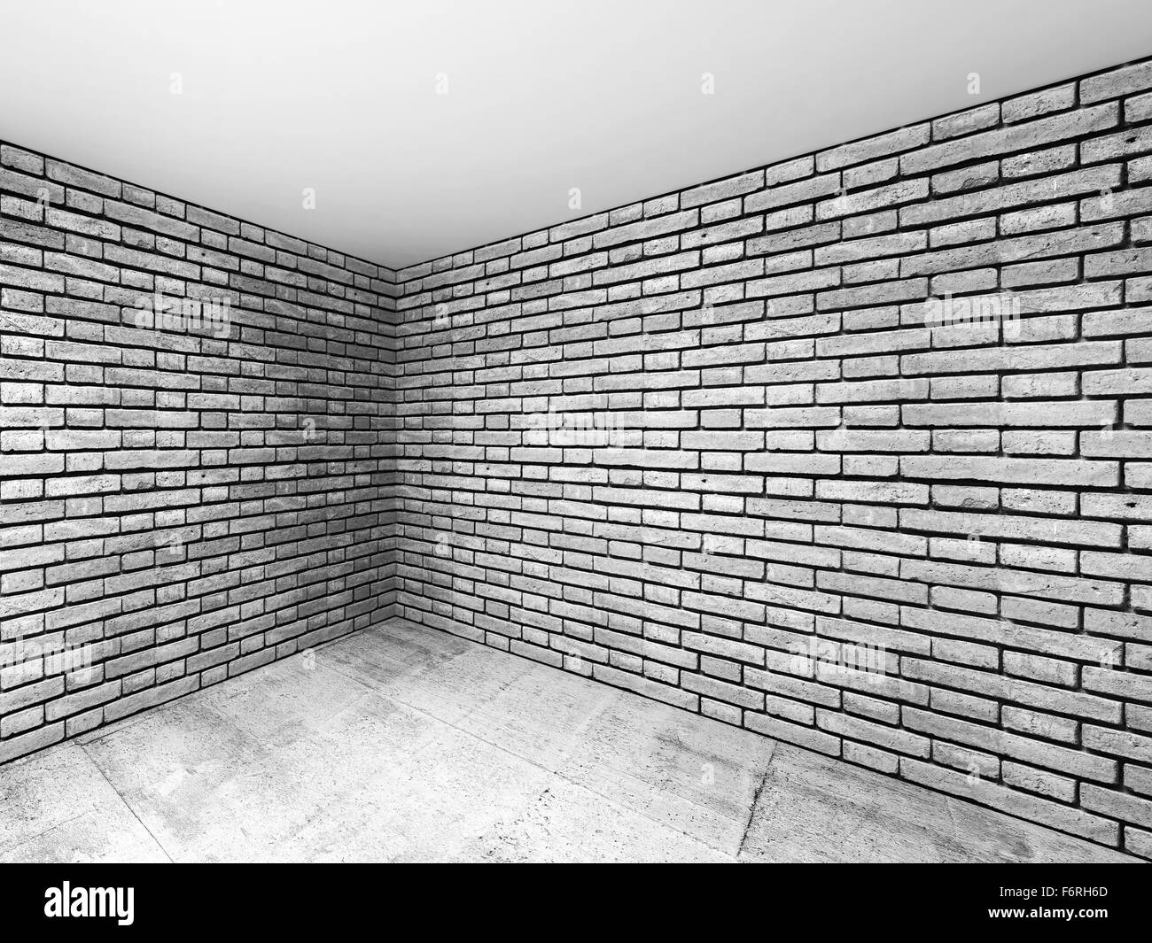 Empty Room Interior With Gray Brick Walls And Concrete