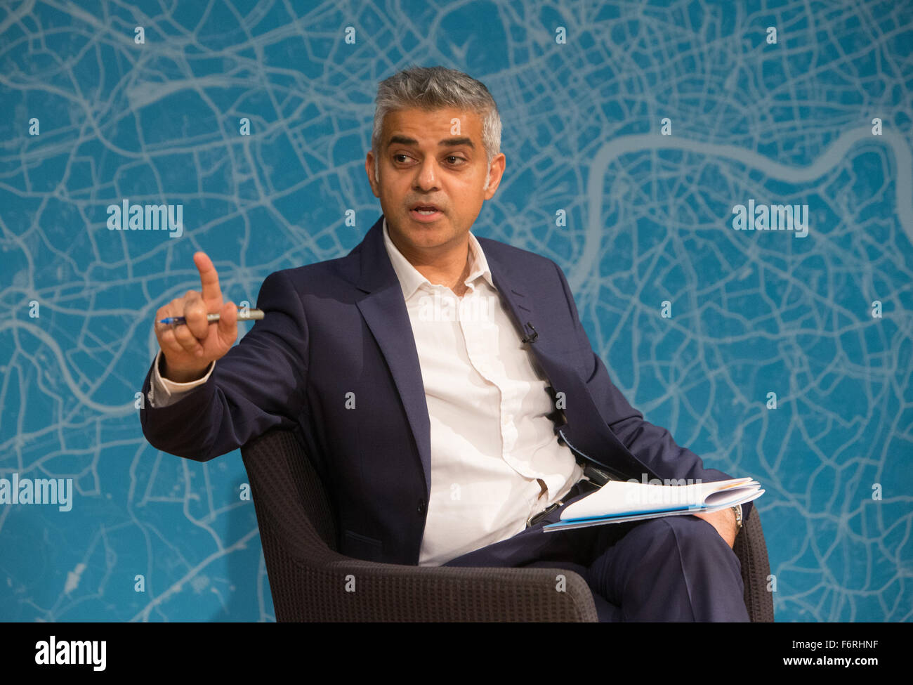 London Mayoral candidate for Labour,Sadiq Khan,speaks at an event about his plans for London,if elected - Stock Image