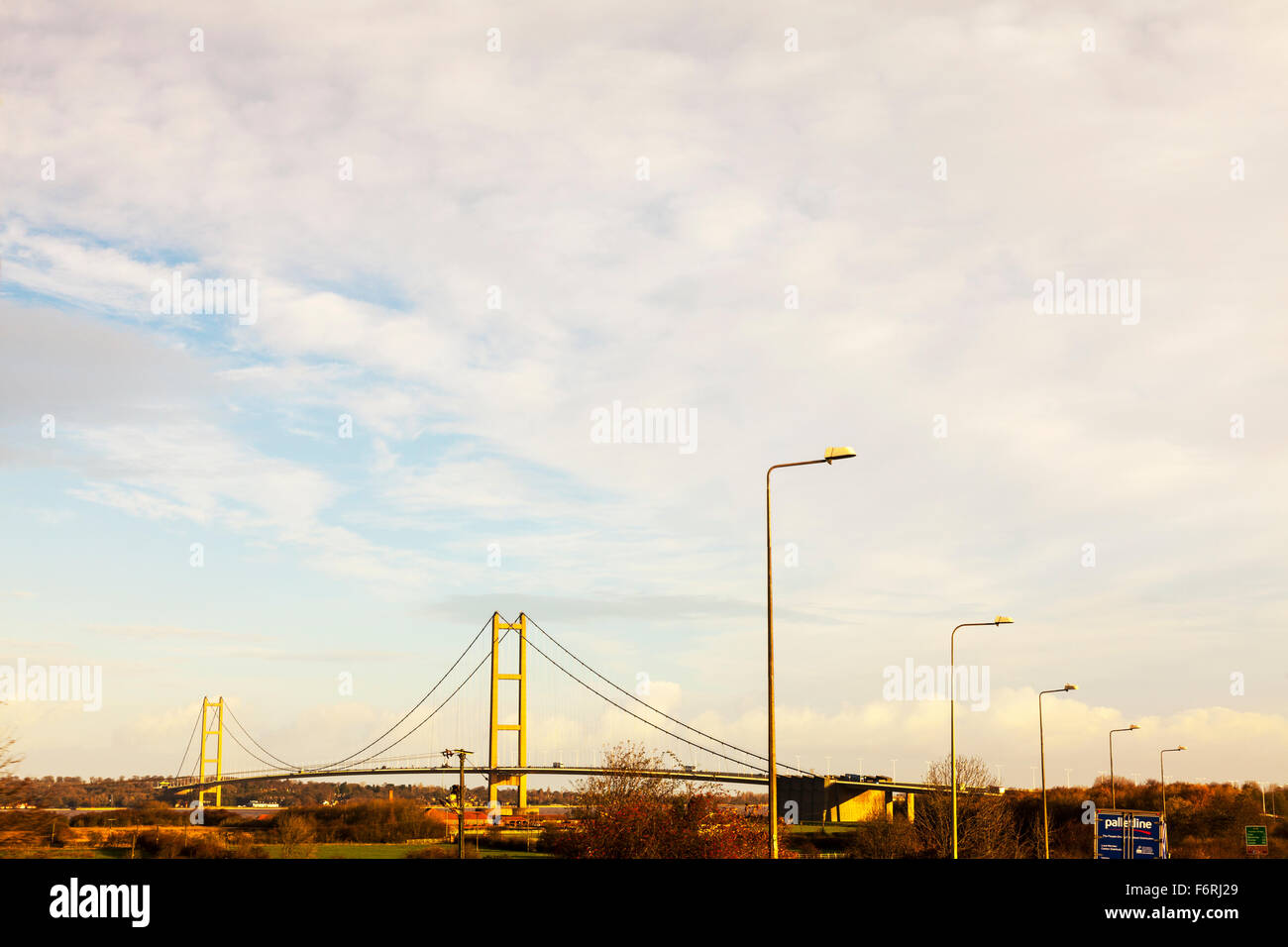 The Humber Bridge, the fifth-largest single-span suspension bridge in the world Humberside UK England British bridges - Stock Image