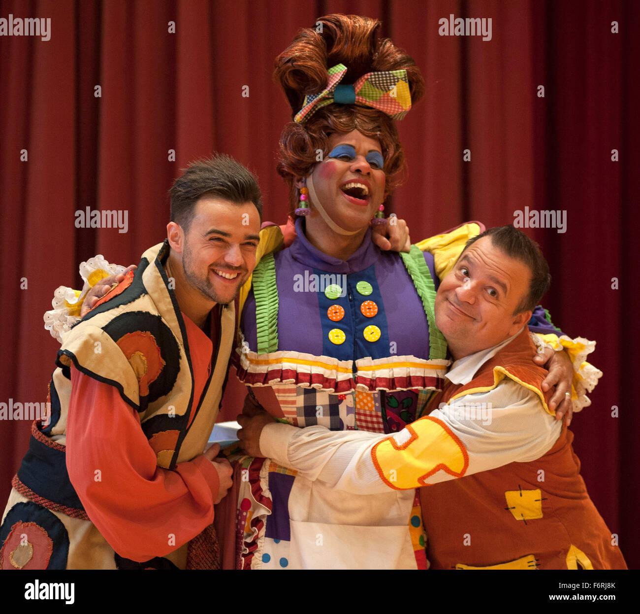 Ben Adams Gary Wilmot Kev Orkian Pose During A Photocall For Aladdin At Milton Keynes Theatre On November 18 2015 In Milton Keynes England