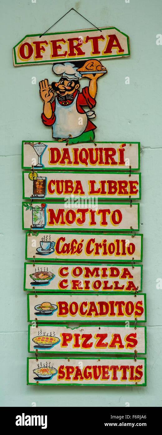 Menu and menus, menu outside of a restaurant on the streets of Vinales, Daiquiri, Cuba Libre, Mojito, Cafe Viñales, - Stock Image