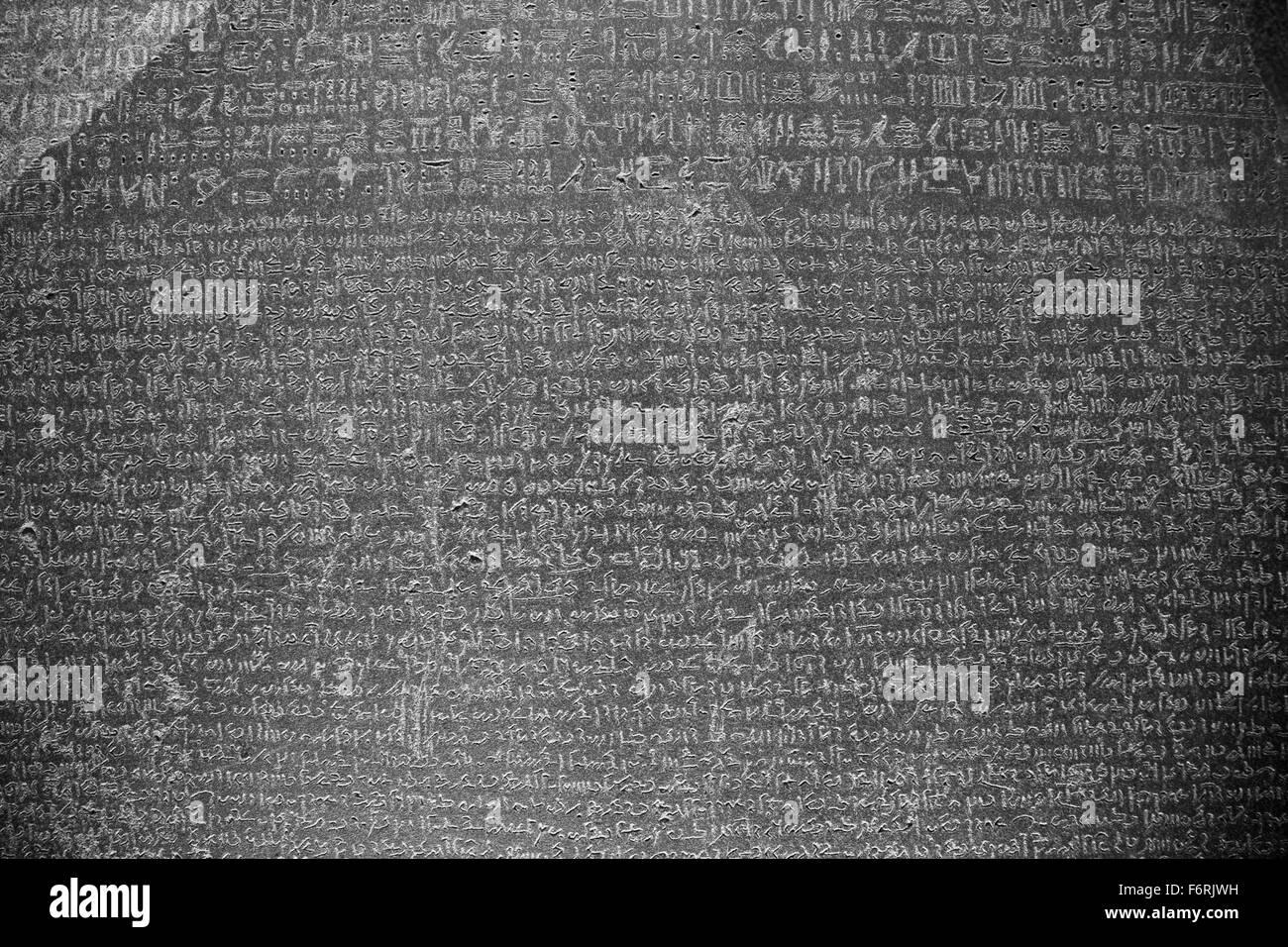 Rosetta Stone, 196 BC, British Museum, London, England UK - Stock Image