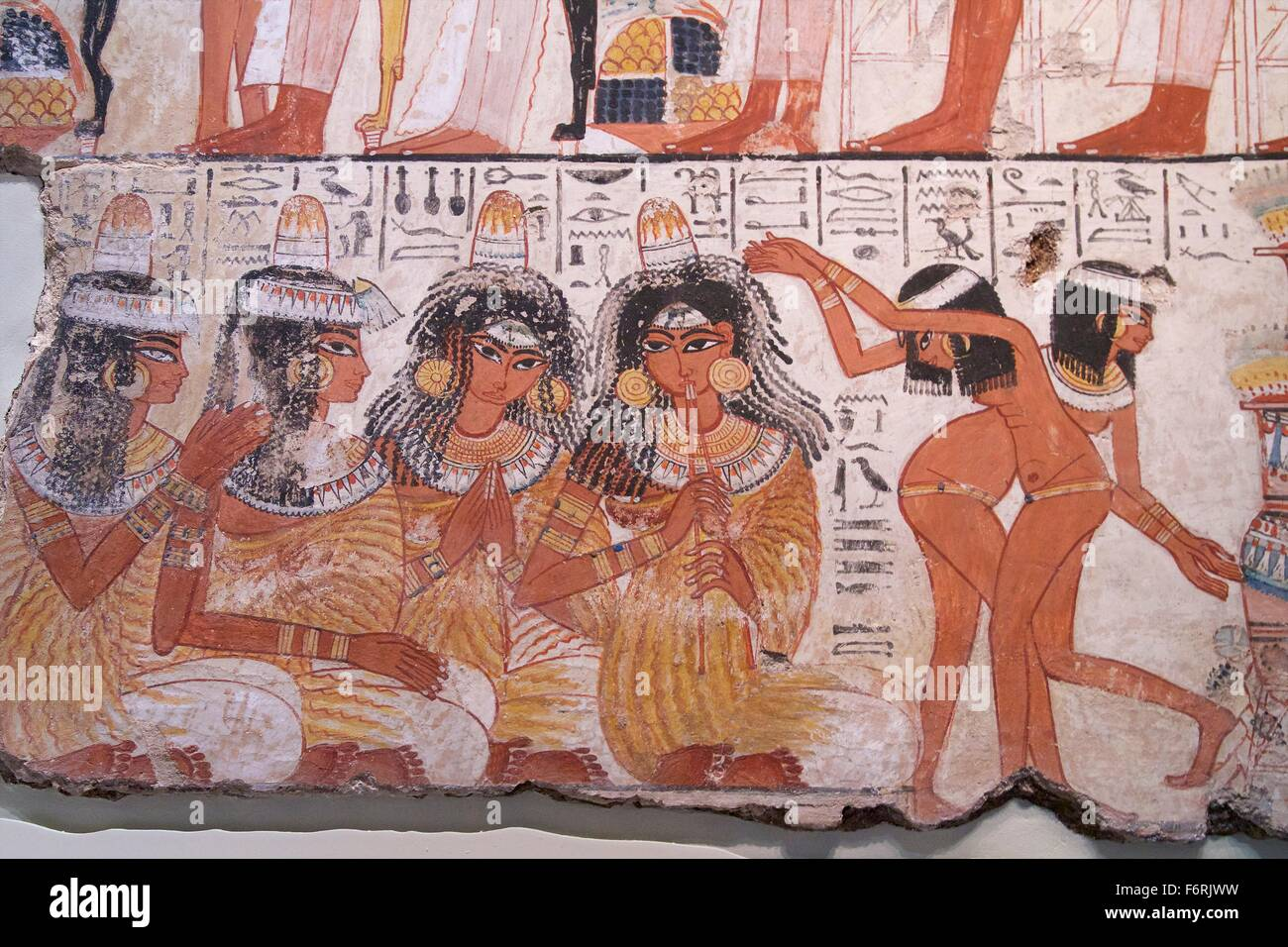 Feast for Nebamun, tomb-chapel decoration, British Museum, London, UK - Stock Image