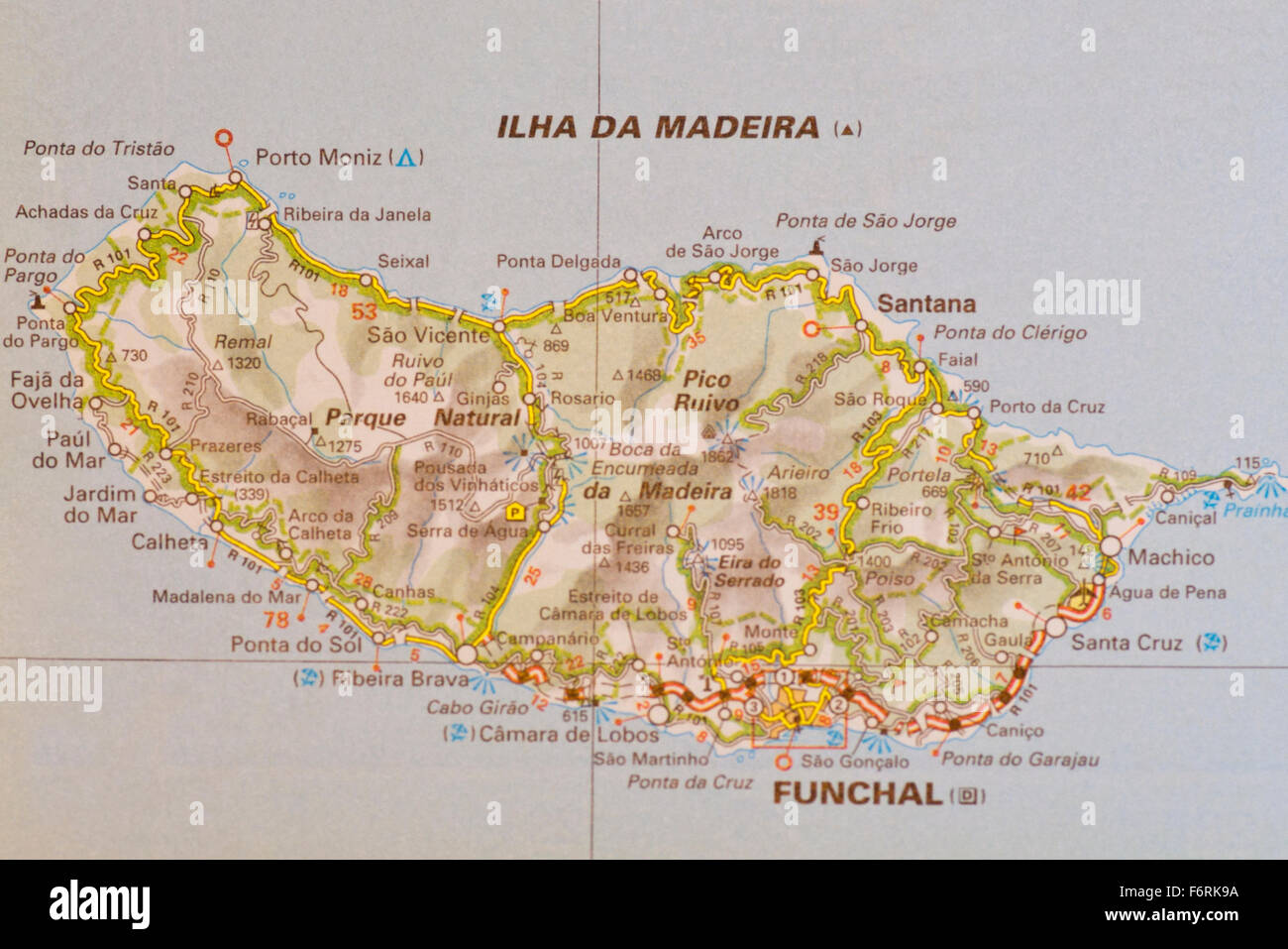 Map Of The Portuguese island Of Madiera - Stock Image