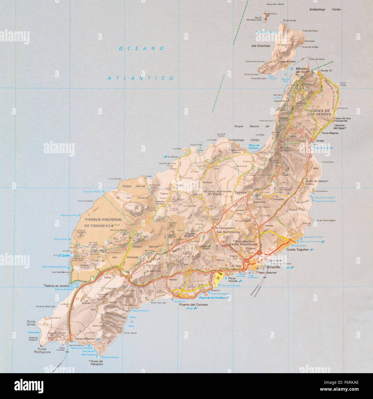 Map Of Spain Lanzarote.Map Of The Spanish Canary Island Of Lanzarote Stock Photo 90259862