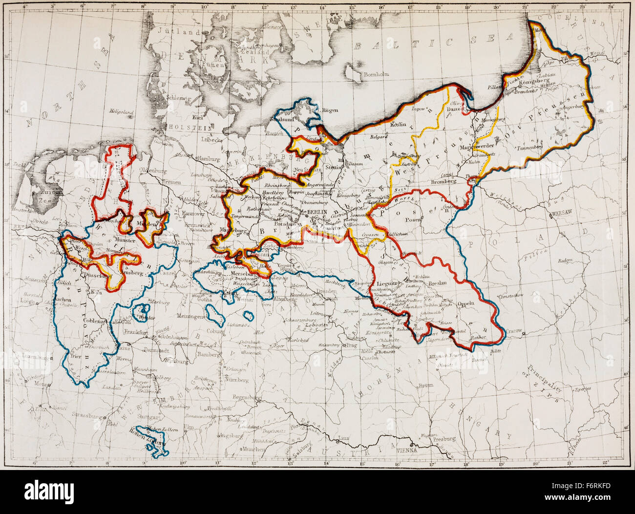 The Kingdom of Prussia between 1740 and 1815. Yellow outline; in 1740 at  the Accession of Friedrich II: red outline; in 1786 at the death of  Friedrich II: ...