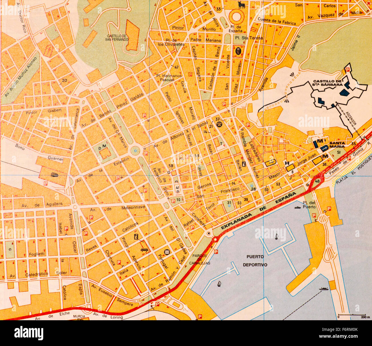 Street map Of The Spanish Town Of Alicante Spain Stock Photo