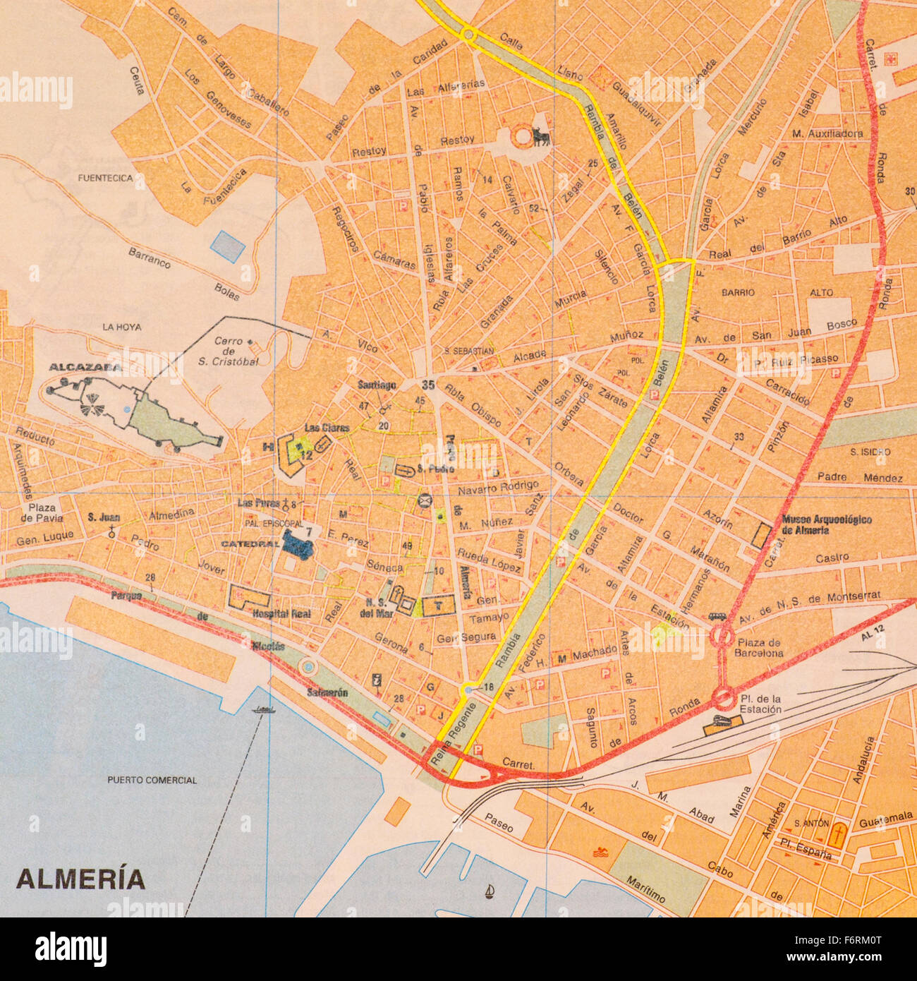 Map Of Spain Almeria.Street Map Of The Spanish City Of Almeria Spain Stock Photo