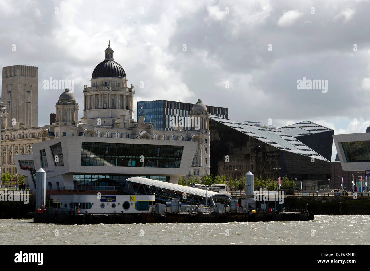 The ferry terminal and modern museum on the seafront in Liverpool, England. - Stock Image