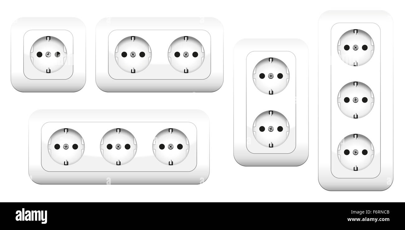 Sockets - european double and triple outlets. Illustration on white background. - Stock Image