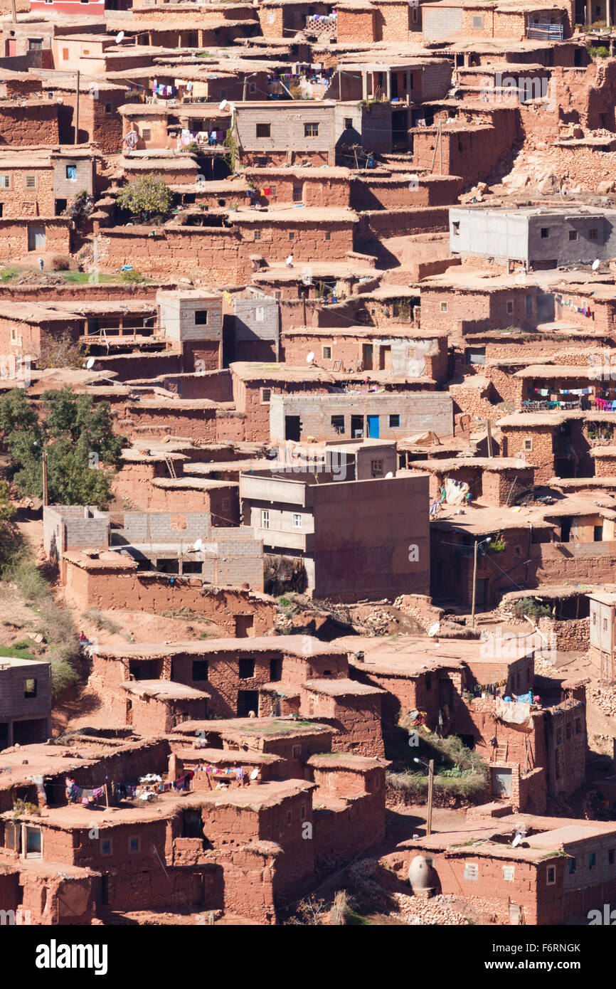 Traditional Berber village at the Atlas Mountains - Stock Image