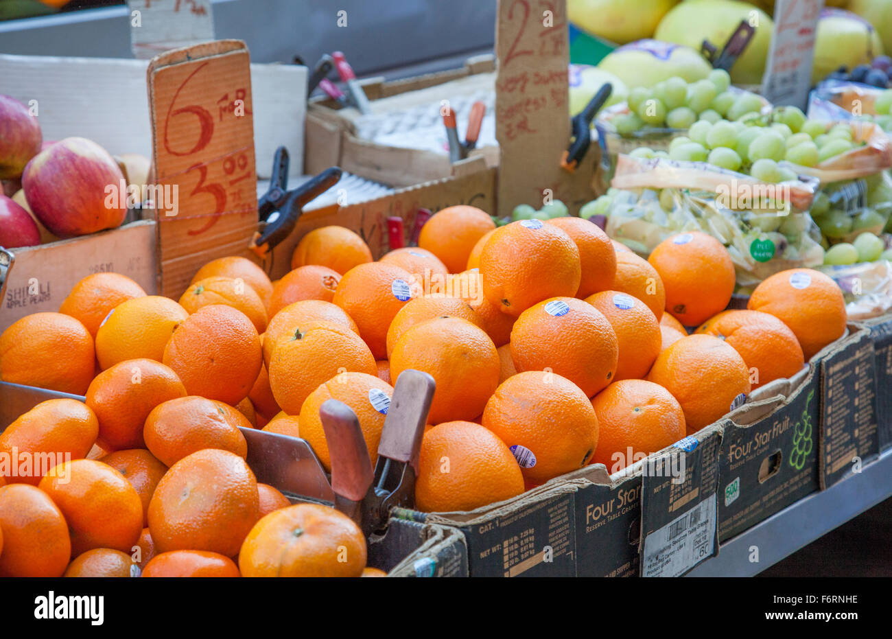 Manhattan Fruit and Vegetable stand or street market on busy New York City corner street - Stock Image