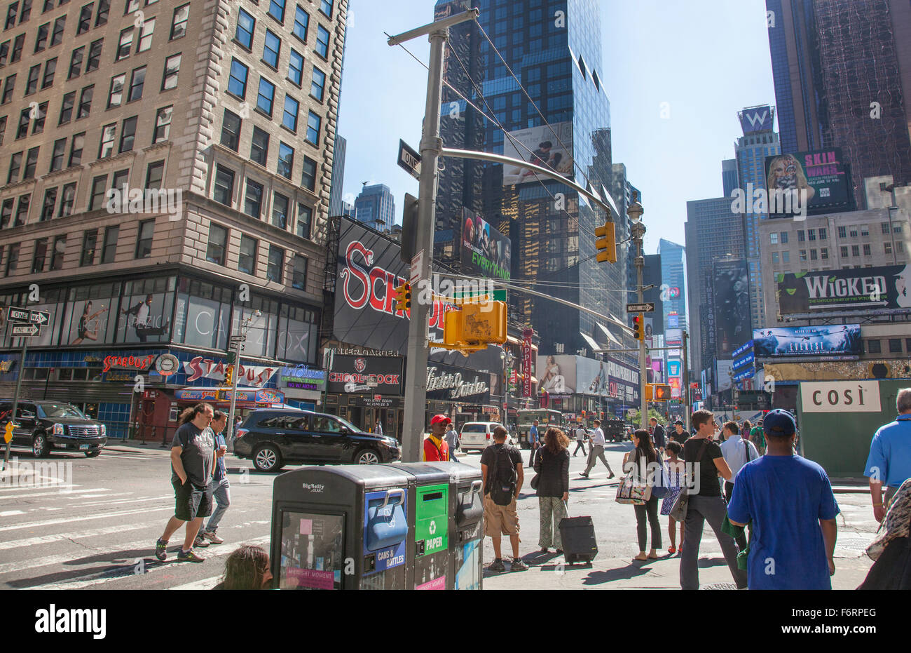 Manhattan New York City Times Square billboards and advertising signs in busy city center - Stock Image