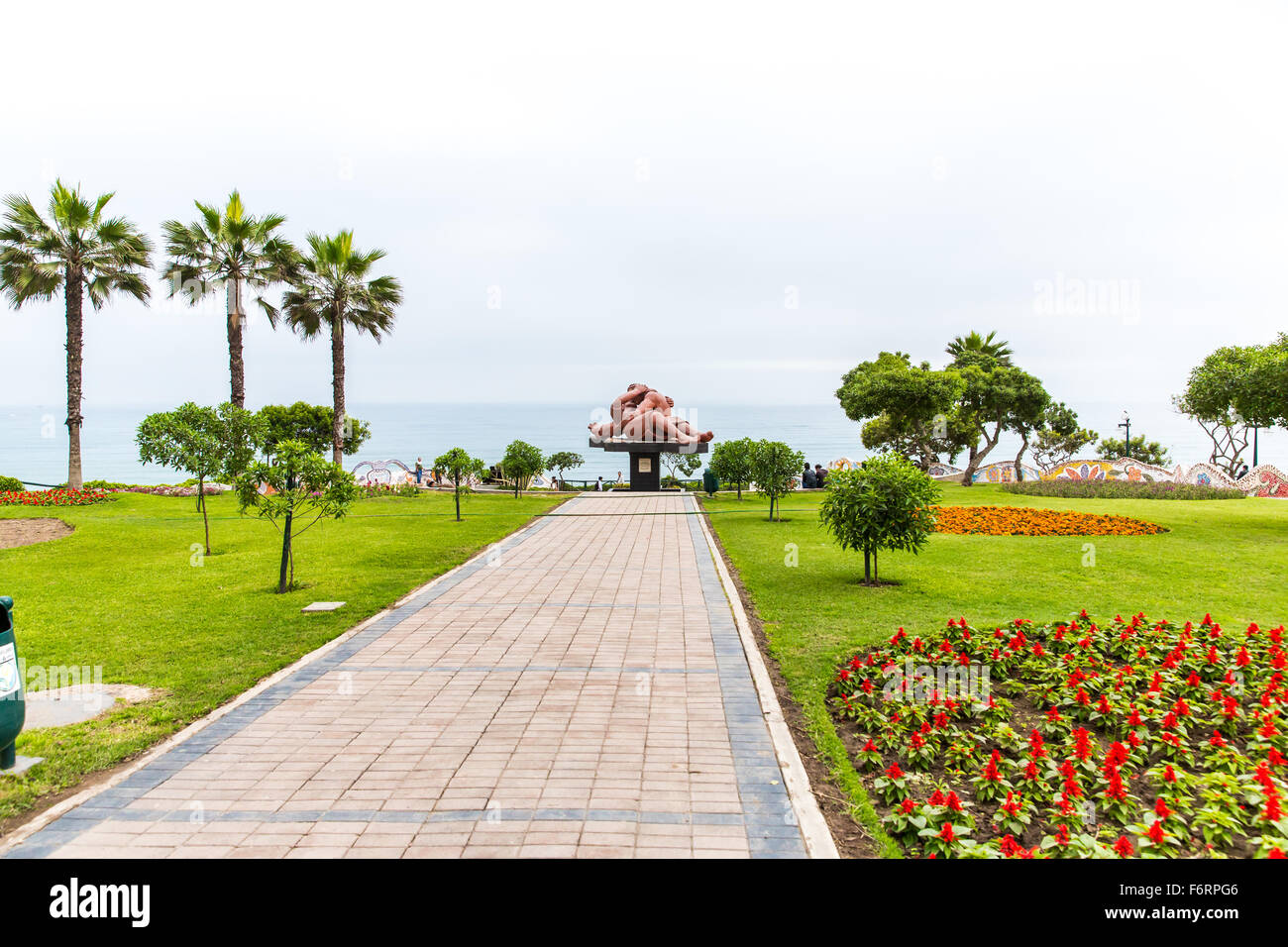 Upscale hotel and Inviting Courtyard and garden on lake Titikaka, Peru in South America Stock Photo