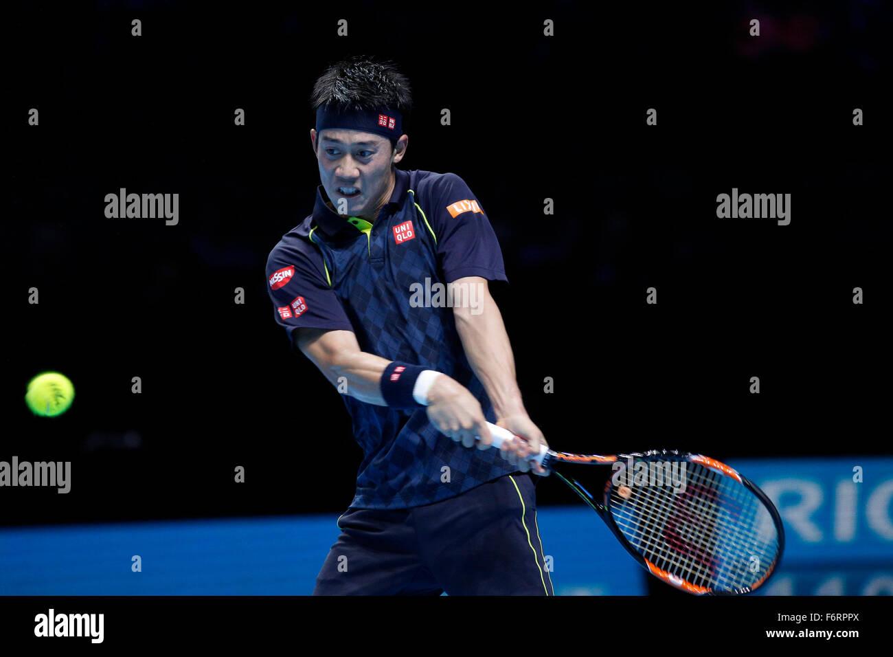 19.11.2015 the O2 London, England. ATP Tour Finals Day 5. Roger Federer (SUI) defeats Kei Nishikori (JPN) by a score - Stock Image