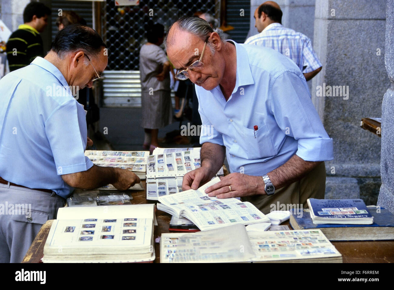 The Sunday Stamp and Coin market in Plaza Mayor. Madrid. Spain - Stock Image