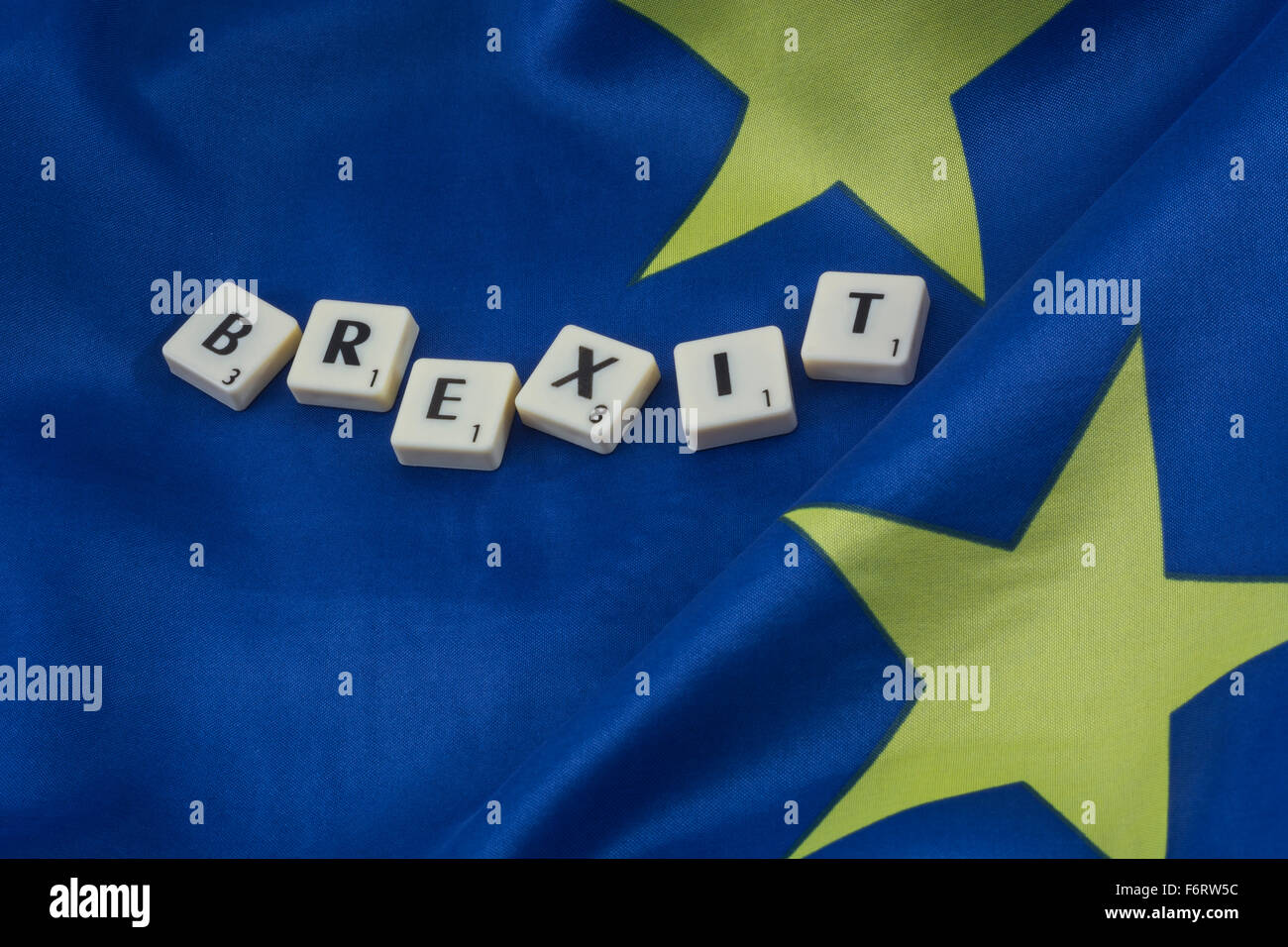 Brexit concept. European Union / EU flag with the letters Brexit - in reference to the UK referendum on leaving - Stock Image