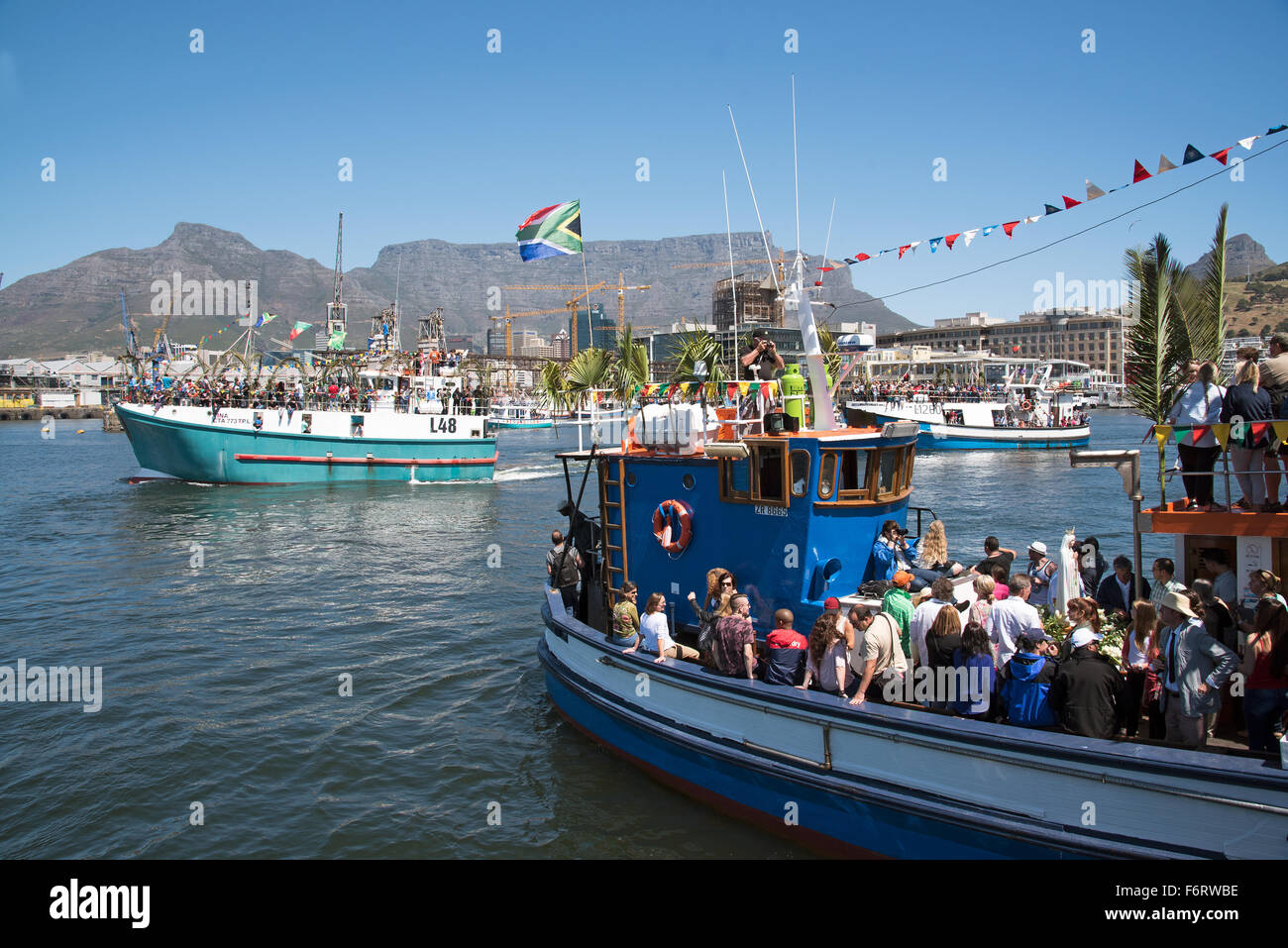 Cape Town harbour South Africa  The annual Blessing of the Fishing Fleet celebrations - Stock Image