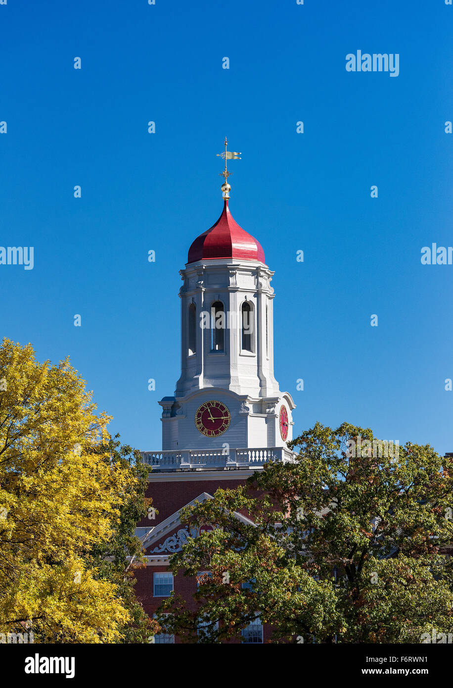 Dunster House dormitory with clock tower, Harvard University, Cambridge, Massachusetts, USA - Stock Image