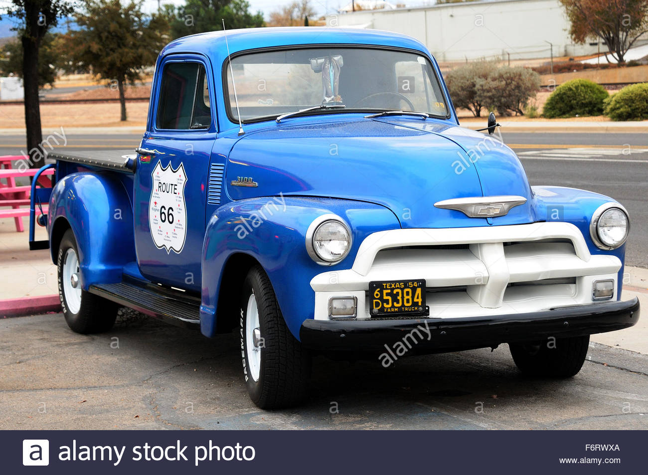 Chevy truck parked in the entrance of a bar in Kingsman, Arizona on the Route 66 Stock Photo