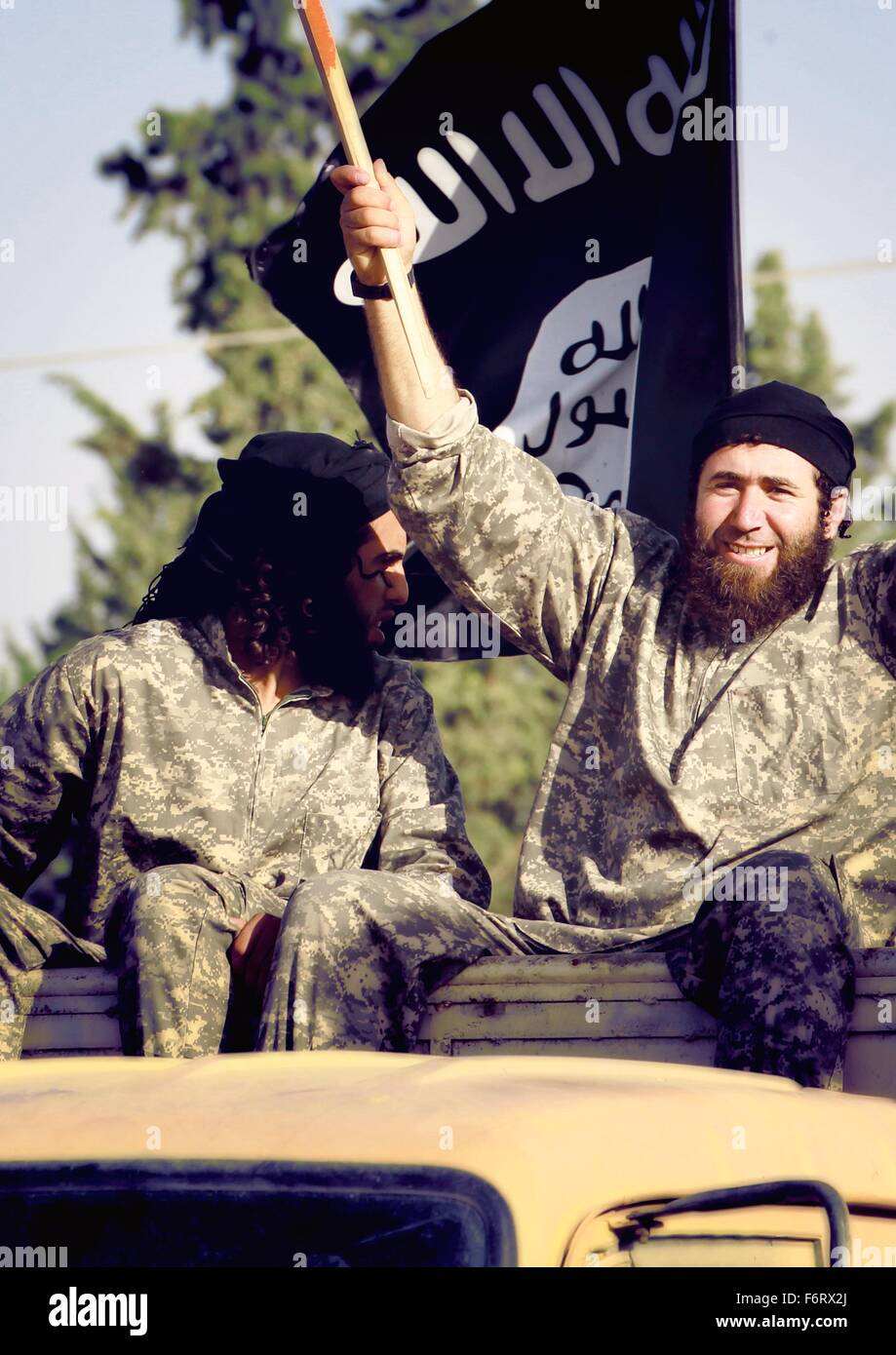Islamic State of Iraq and the Levant propaganda photo showing ISIS militants parading June 30, 2014 in Raqqa, Northern Stock Photo