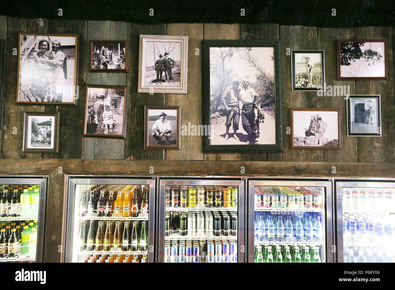 Nov. 13, 2015 - Napa, CA, U.S. - Family photos hang on the wall above the drink cooler at The Shed Napa Valley. - Stock Image