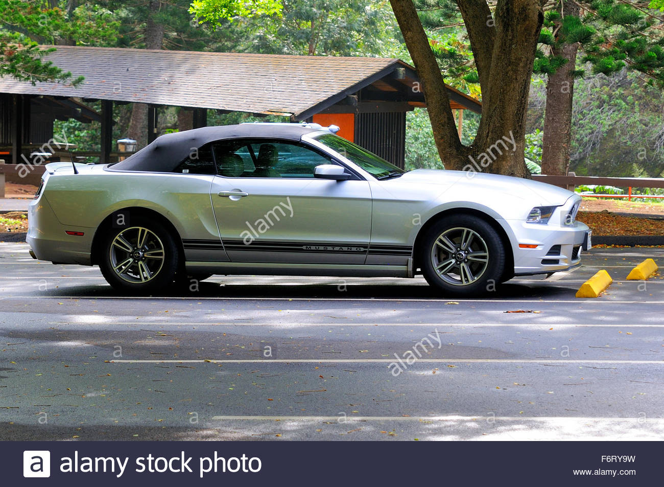 Convertible Ford Mustang parked in the roads of the island of Maui, Hawaii - Stock Image