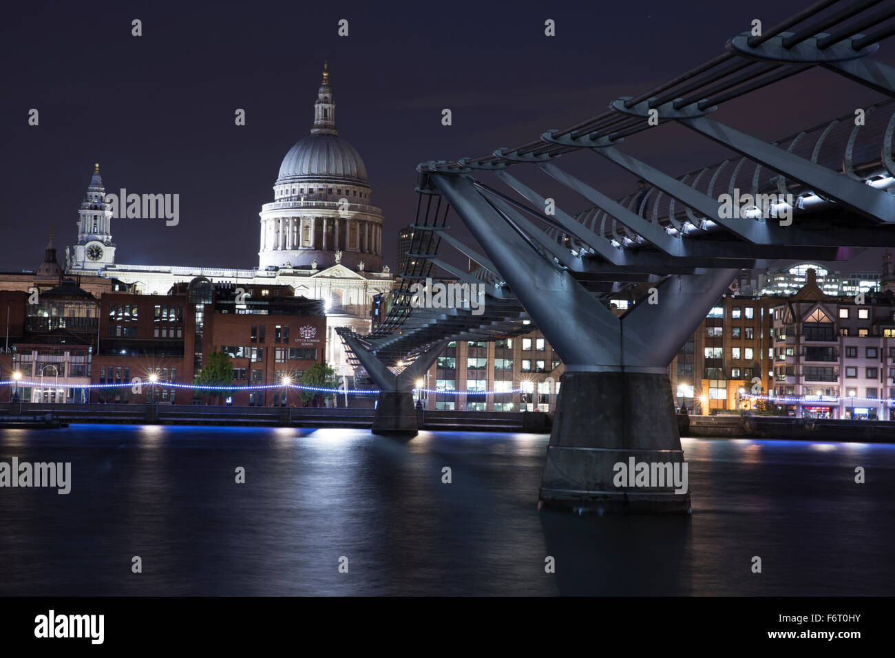 St Paul's Cathedral view from Millennium Bridge - Stock Image