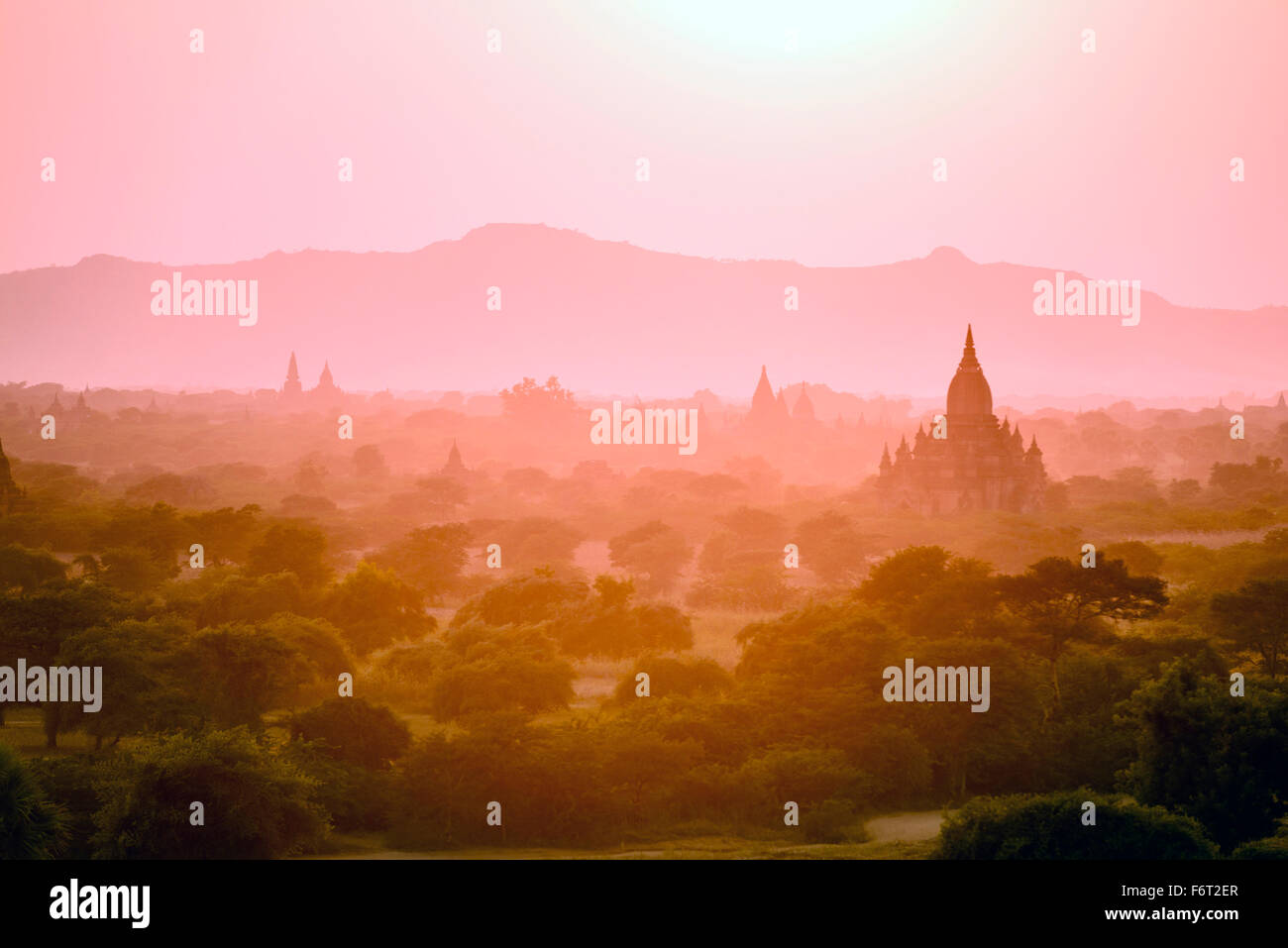 Towers in misty landscape - Stock Image