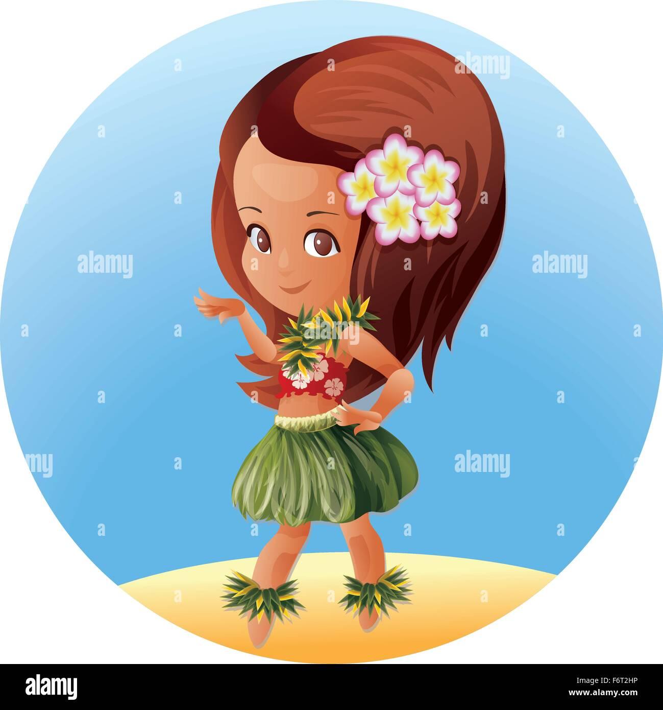 Hula dancer Hawaiian cartoon character - Stock Vector